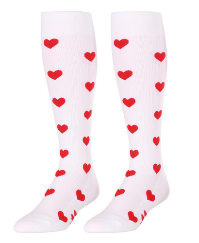 Mojo SweetHearts White Compression Socks