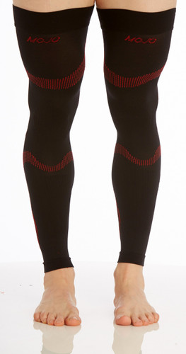 Recovery Graduated Compression Thigh Sleeves Black Red