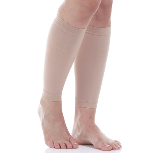 Compression Calf Sleeves  - Firm Support (20-30mmHg) Beige