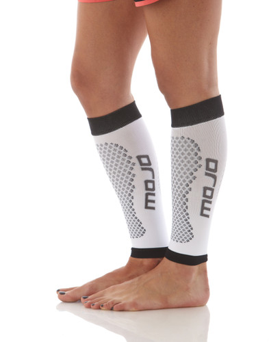 Mojo Compression Socks™ Calf Compression Sleeves and Shin Splint Supports Firm Support 20-30mmHg White/Black