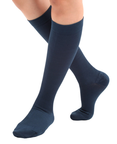 Unisex Cotton Compression Socks Firm Support (20-30mmHg ) Navy