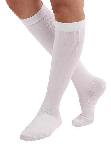 Unisex Cotton Compression Socks Firm Support (20-30mmHg ) White