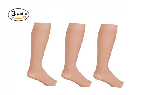Beige Opaque Knee High Open Toe Compression Socks - Firm Support - 3 Pack