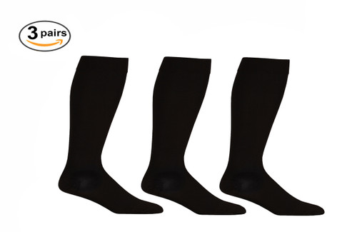 Black Opaque Knee High Open Toe Compression Socks Firm Support - 3 Pack