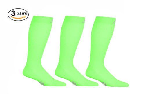 3 Pack of Mojo Compression Socks - Comfortable Coolmax Material for Recovery & Performance Medical Support Socks Firm Support - Action Green
