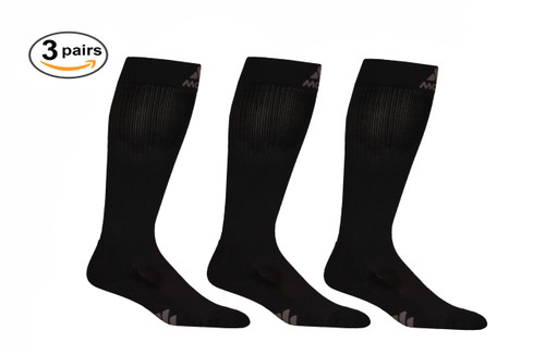 3 Pack of Mojo Compression Socks - Comfortable Coolmax Material for Recovery & Performance Medical Support Socks Firm Support - Black