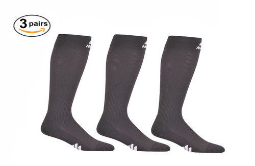 3 Pack of Mojo Compression Socks - Comfortable Coolmax Material for Recovery & Performance Medical Support Socks Firm Support - Carbon Gray