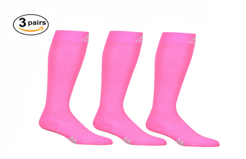 Mojo Compression Socks™ 3 Pack of Mojo Compression Socks - Comfortable Coolmax Material for Recovery & Performance Medical Support Socks Firm Support - Hot Pink