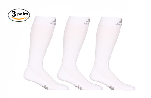 M809WH_3, Firm Support (20-30mmHg) White Knee High Compression Socks, Front View