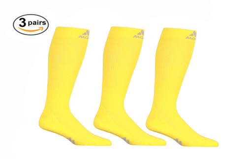 3 Pack of Mojo Compression Socks - Comfortable Coolmax Material for Recovery & Performance Medical Support Socks Firm Support - Yellow