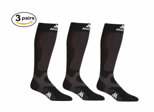 3 Pack of Warrior Power Compression Socks for Performance & Recovery - Black