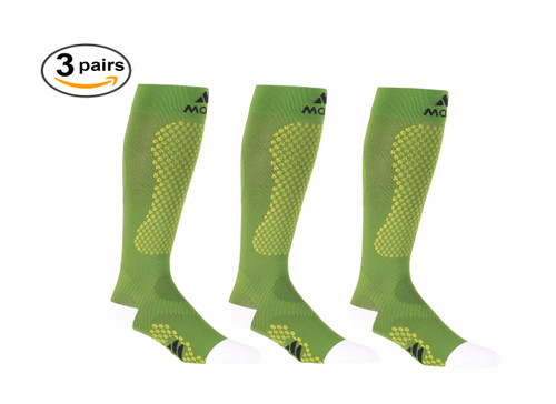 Mojo Compression Socks™ Green Warrior Power Compression Socks for Performance & Recovery - 3 Pack