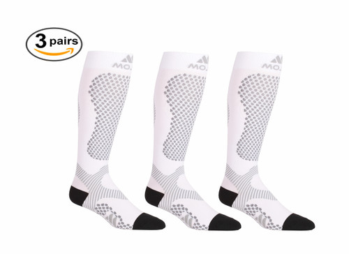 White Warrior Power Compression Socks for Performance & Recovery - 3 Pack