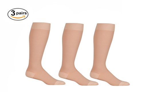 Beige Opaque Knee High Closed Toe Compression Socks - Firm Support - 3 Pack
