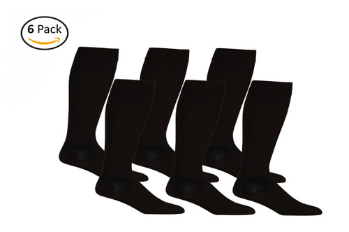 Opaque Knee High Closed Toe Compression Socks - Firm Support - Black - 6 Pack