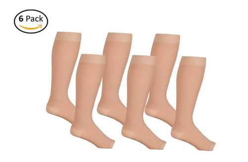 Opaque Knee High Open Toe Compression Socks - Firm Support - Beige- 6 Pack