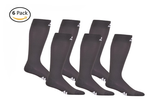 Mojo Compression Socks™ 6 Pack of Mojo Compression Socks - Comfortable Coolmax Material for Recovery & Performance Medical Support Socks Firm Support - Carbon Gray