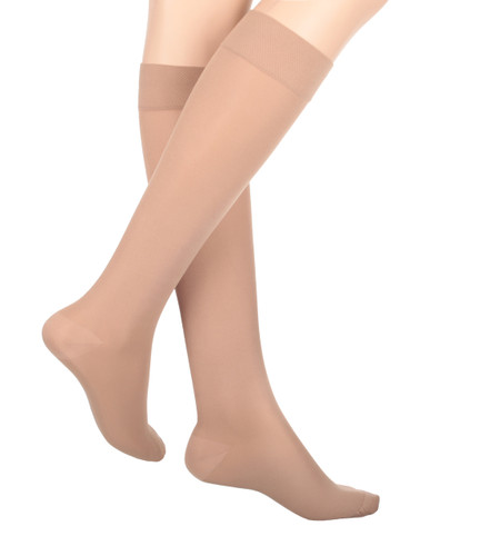 Mojo Compression Socks™ Mojo Basics - Unisex Microfiber Compression Socks -- Medium Support (15-20mmHg) Beige