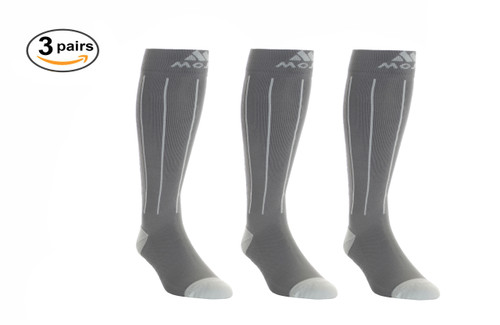 Mojo Compression Socks™ 3 Pack of Charcoal and Light Gray Pin Stripe Compression Socks