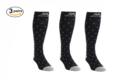 Mojo Compression Socks™ 3 Pack of Black Essential Polka Dot Compression Socks
