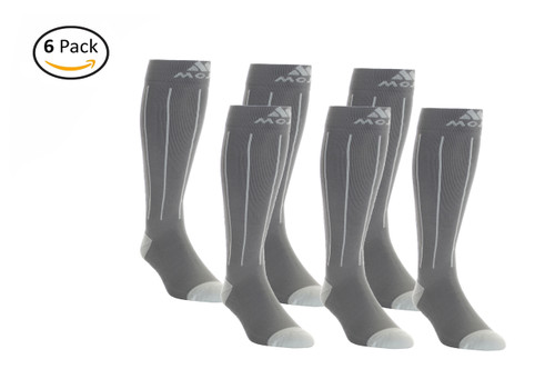 6 Pack of Charcoal and Light Gray Pin Stripe Compression Socks