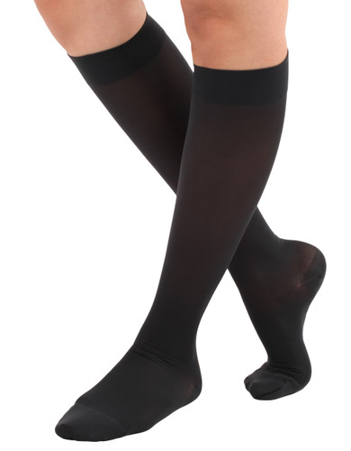 A231BL,Firm Support (20-30mmHg) Black Knee High Compression Socks, Front View