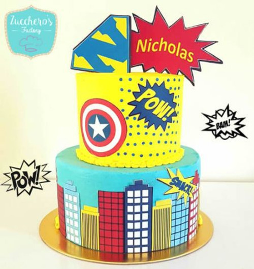 Two Tier Buttercream Super Hero Cake Edible Image