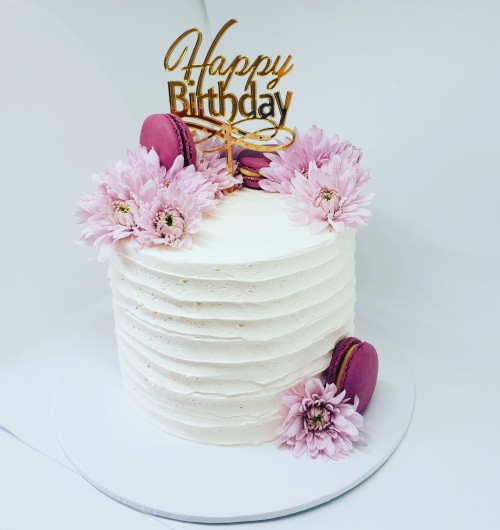 """6"""" Floral - Macaroon Cake & Topper"""