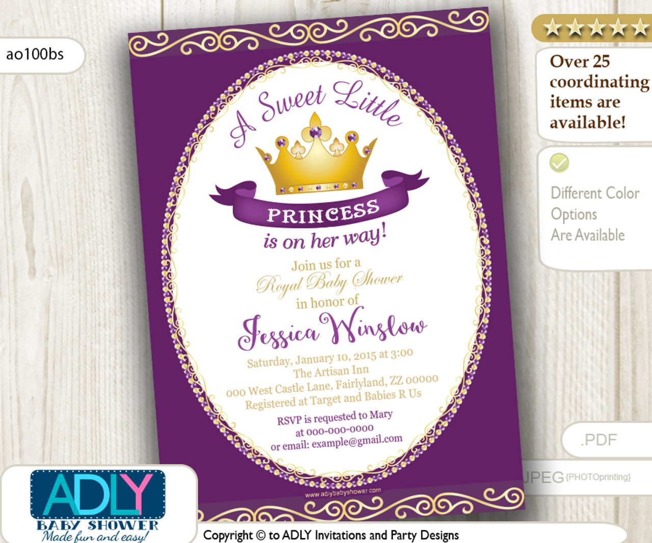 Purple princess baby shower invitation for girl pink goldgolden purple princess baby shower invitation for girl pink goldgolden crownroyal filmwisefo