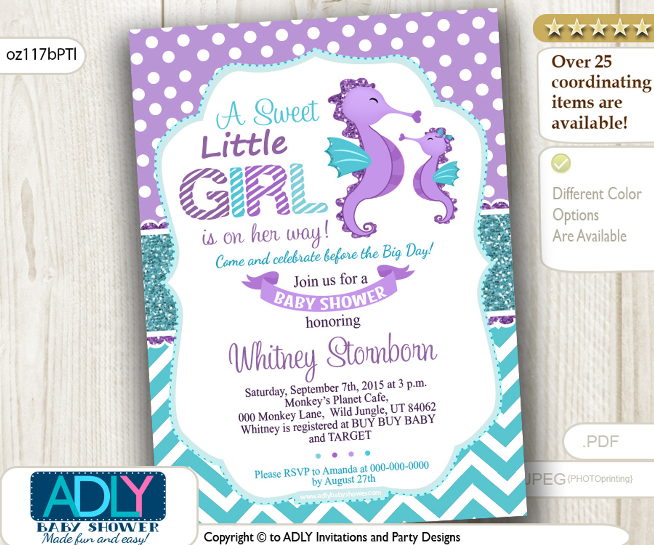 Purple Teal Seahorse Girl Baby Shower Invitation Adly Invitations
