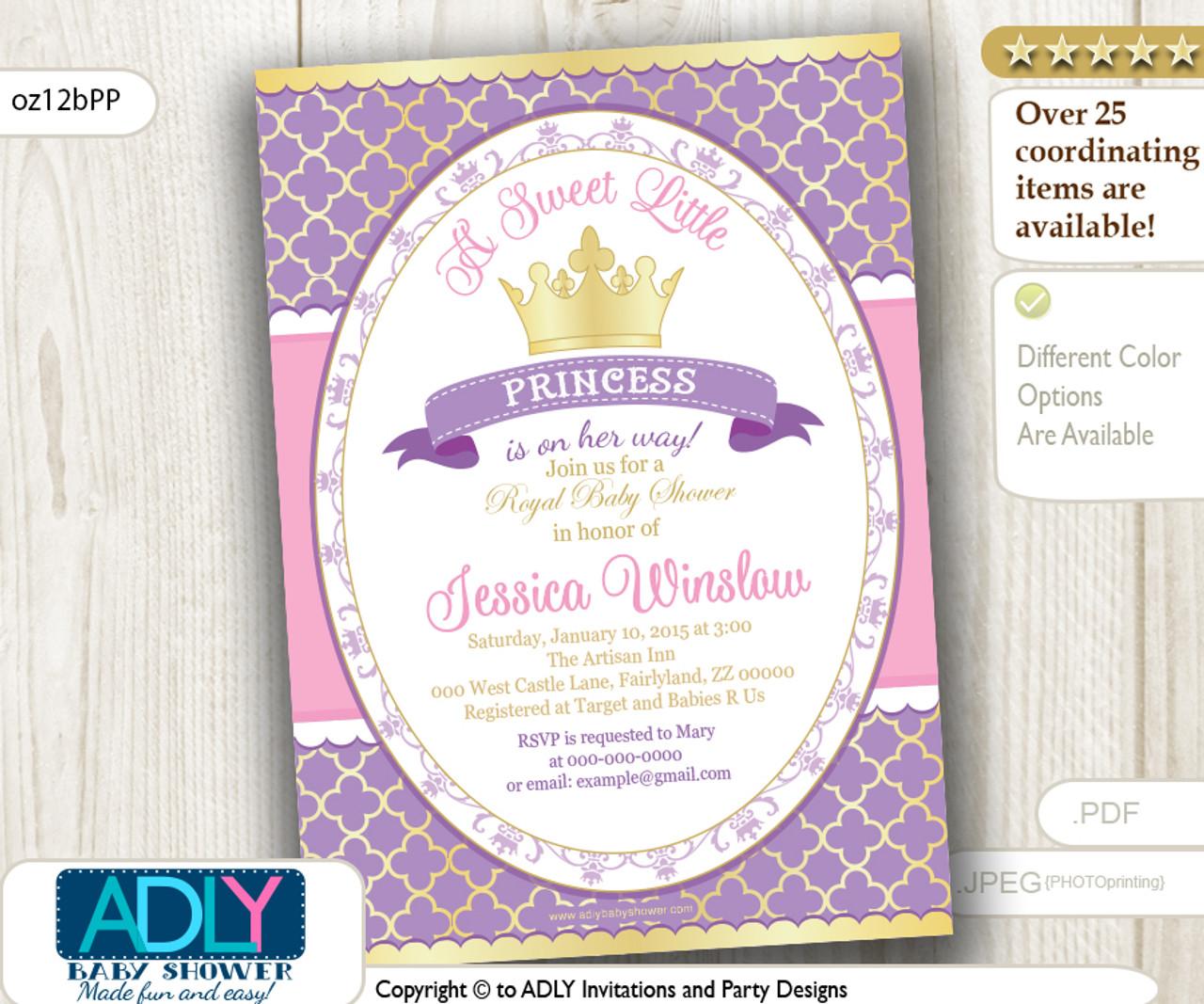 purple pink gold princess invitation for royal baby shower lavender golden crown a