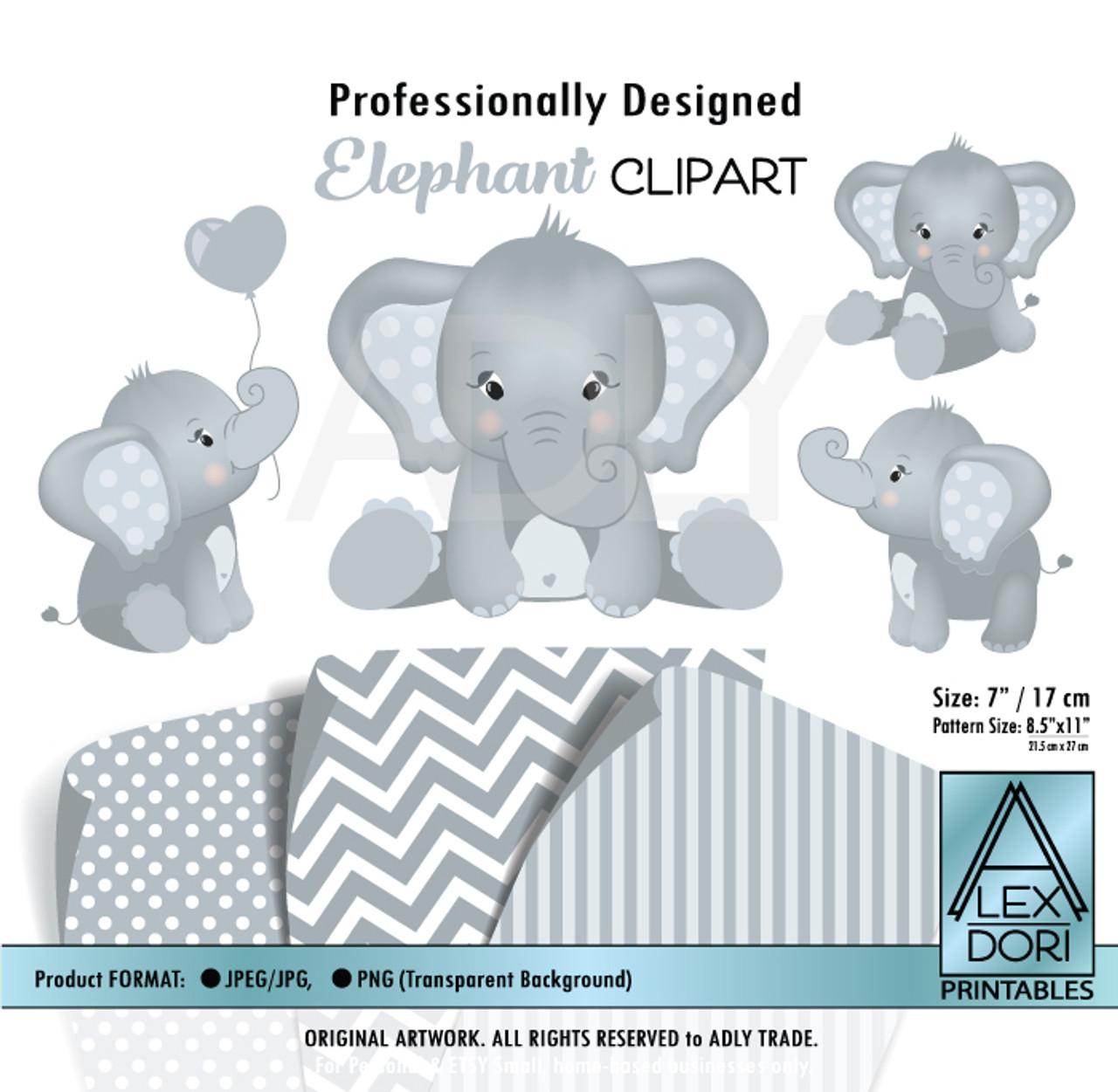 Baby Blue and Soft Gray Baby Elephants Peanut Balloon ...