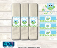 Printable Boy Owl Napkin Ring Label or Napkin Holders for Baby Shower, Spring, Blossom