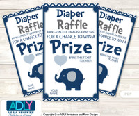 Boy Peanut Diaper Raffle Printable Tickets for Baby Shower, Blue Grey, Chevron