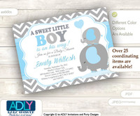 A Sweet Little Boy Elephant Invitation, chevron grey baby blue mommy and baby elephant invitation, little peanut