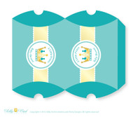 Royal Prince Candy Pillow Box Treat Printable for Baby Prince or Birthday Prince DIY Crown , Teal Gold - ao89bs21