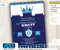 Dark Blue Prince Castle Birthday Invitation