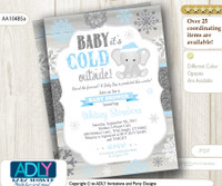 Baby Blue, Glitter, Blue Elephant Snowflake Invitation for Winter Baby Shower