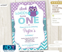 Teal and Purple Girl Owl Birthday Invitation, chevron and polka