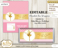 DIY Personalizable Ballet Ballerina Chocolate Bar Candy Wrapper Label for Ballet  baby shower, birthday Pink Gold , editable wrappers