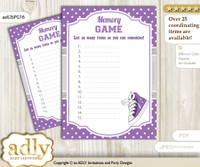 Girl Sneakers Memory Game Card for Baby Shower, Printable Guess Card, Purple Grey, Sport