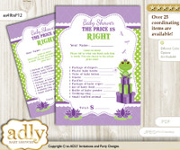 Printable Girl Frog Price is Right Game Card for Baby Frog Shower, Green Purple, Polka