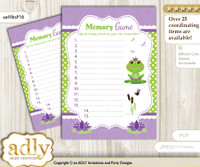 Girl Frog Memory Game Card for Baby Shower, Printable Guess Card, Green Purple, Polka