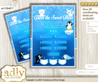 Boy Arctic Dirty Diaper Game or Guess Sweet Mess Game for a Baby Shower Blue Silver, Winter