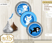 Printable  Boy Arctic Candy Kisses for Baby Boy Shower DIY Blue Silver , Winter