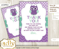 Girl  Owl  Thank you Cards for a Baby Girl Shower or Birthday DIY Purple Green, Mint