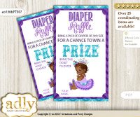 African Princess Diaper Raffle Printable Tickets for Baby Shower, Purple Teal, Silver