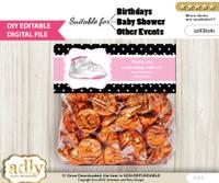DIY Text Editable Girl Jumpman Goodie  Treat Bag Toppers, Favor Bag Digital File, print at home