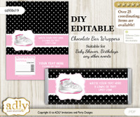 DIY Personalizable Girl Jumpman Chocolate Bar Candy Wrapper Label for Girl  baby shower, birthday Pink Black , editable wrappers