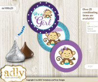 Printable  Girl Monkey Candy Kisses for Baby Girl Shower DIY Purple Teal , Polka